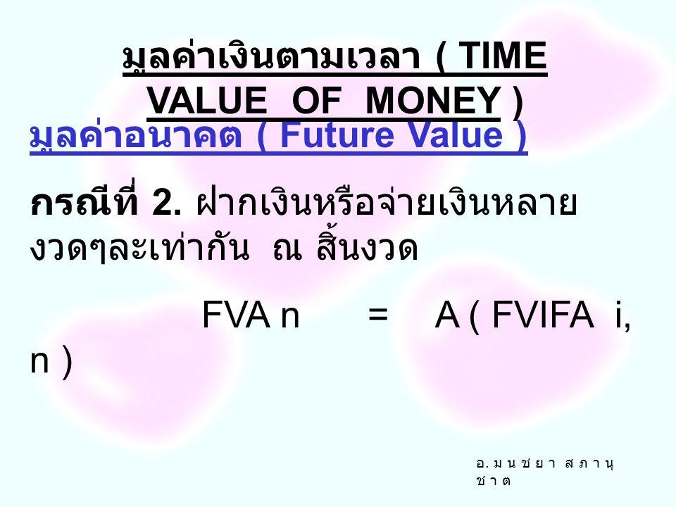 อ. ม น ช ย า ส ภ า นุ ช า ต มูลค่าอนาคต ( Future Value ) กรณีที่ 1. ฝากเงินหรือจ่ายเงิน ครั้งเดียว FVn=PV ( 1 + i ) n FVn=PV ( FVIF i, n ) มูลค่าเงินต