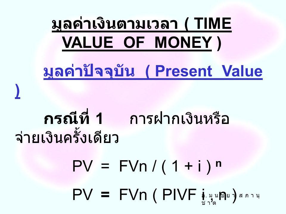อ. ม น ช ย า ส ภ า นุ ช า ต มูลค่าอนาคต ( Future Value ) กรณีที่ 3. ฝากเงินหรือจ่ายเงินหลาย งวดๆละเท่ากัน ณ ต้นงวด FVA n=A ( FVIFA i, n )( 1+ i ) มูลค