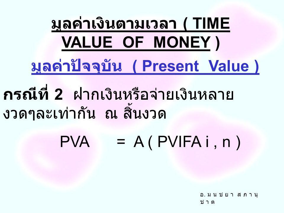 อ. ม น ช ย า ส ภ า นุ ช า ต มูลค่าปัจจุบัน ( Present Value ) กรณีที่ 1 การฝากเงินหรือ จ่ายเงินครั้งเดียว PV= FVn / ( 1 + i ) n PV= FVn ( PIVF i, n ) ม