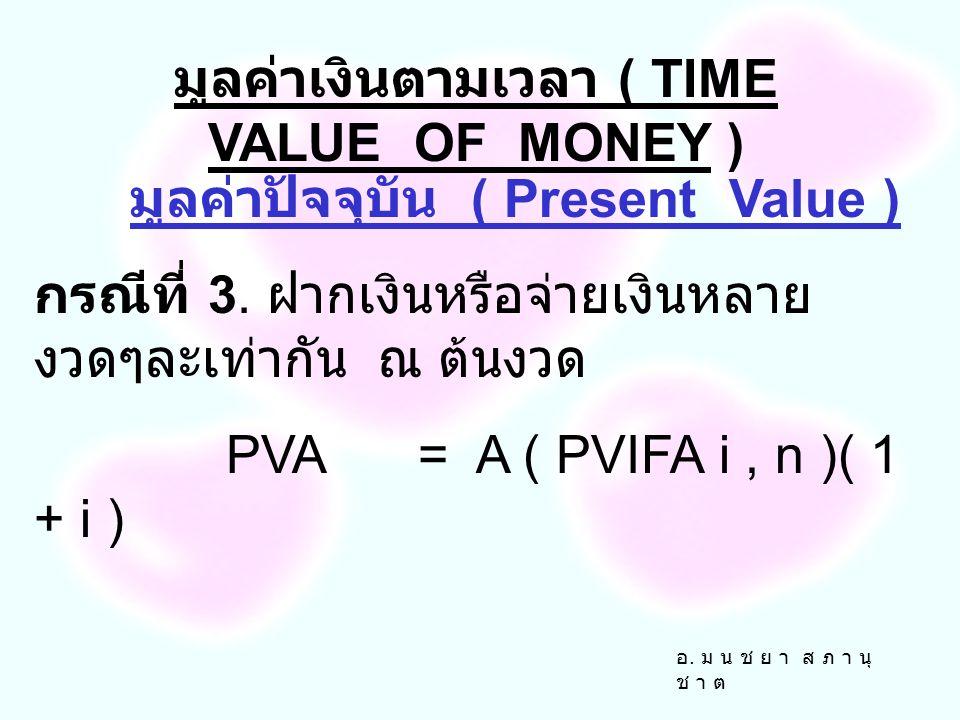 อ. ม น ช ย า ส ภ า นุ ช า ต มูลค่าปัจจุบัน ( Present Value ) กรณีที่ 2 ฝากเงินหรือจ่ายเงินหลาย งวดๆละเท่ากัน ณ สิ้นงวด PVA= A ( PVIFA i, n ) มูลค่าเงิ
