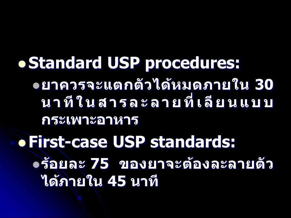 Standard USP procedures: Standard USP procedures: ยาควรจะแตกตัวได้หมดภายใน 30 นาทีในสารละลายที่เลียนแบบ กระเพาะอาหาร ยาควรจะแตกตัวได้หมดภายใน 30 นาทีในสารละลายที่เลียนแบบ กระเพาะอาหาร First-case USP standards: First-case USP standards: ร้อยละ 75 ของยาจะต้องละลายตัว ได้ภายใน 45 นาที ร้อยละ 75 ของยาจะต้องละลายตัว ได้ภายใน 45 นาที