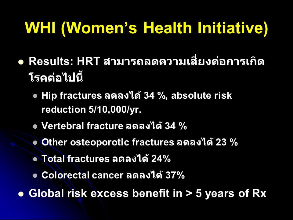 Results: HRT สามารถลดความเสี่ยงต่อการเกิด โรคต่อไปนี้ Hip fractures ลดลงได้ 34 %, absolute risk reduction 5/10,000/yr. Vertebral fracture ลดลงได้ 34 %
