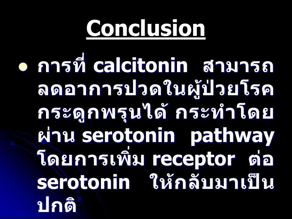 Conclusion การที่ calcitonin สามารถ ลดอาการปวดในผู้ป่วยโรค กระดูกพรุนได้ กระทำโดย ผ่าน serotonin pathway โดยการเพิ่ม receptor ต่อ serotonin ให้กลับมาเ
