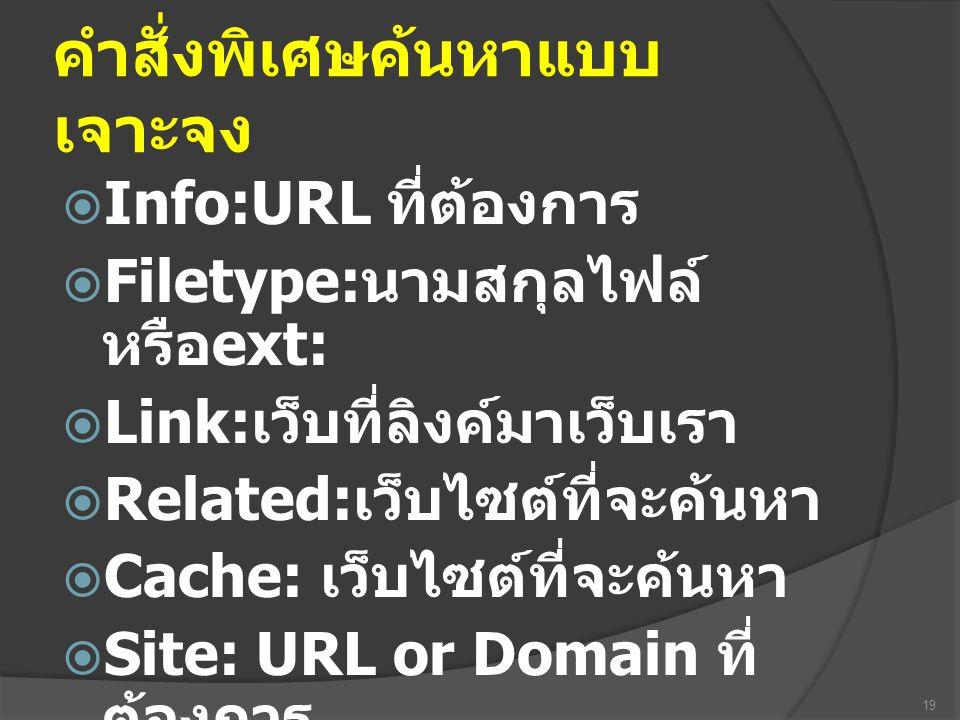 คำสั่งพิเศษค้นหาแบบ เจาะจง  Info:URL ที่ต้องการ  Filetype: นามสกุลไฟล์ หรือ ext:  Link: เว็บที่ลิงค์มาเว็บเรา  Related: เว็บไซต์ที่จะค้นหา  Cache