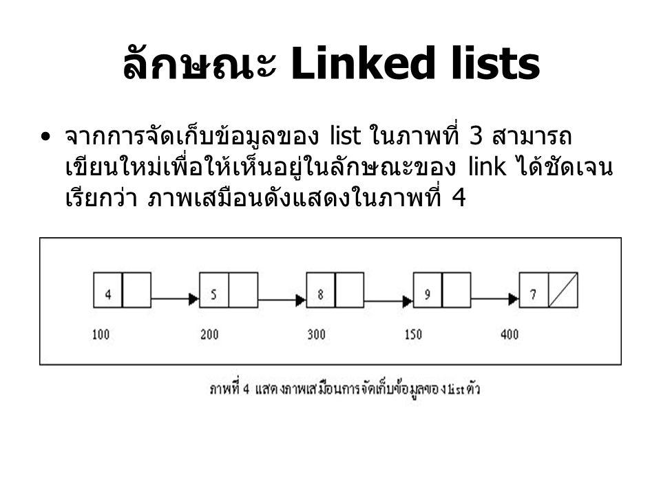 ลักษณะ Linked lists จากการจัดเก็บข้อมูลของ list ในภาพที่ 3 สามารถ เขียนใหม่เพื่อให้เห็นอยู่ในลักษณะของ link ได้ชัดเจน เรียกว่า ภาพเสมือนดังแสดงในภาพที่ 4