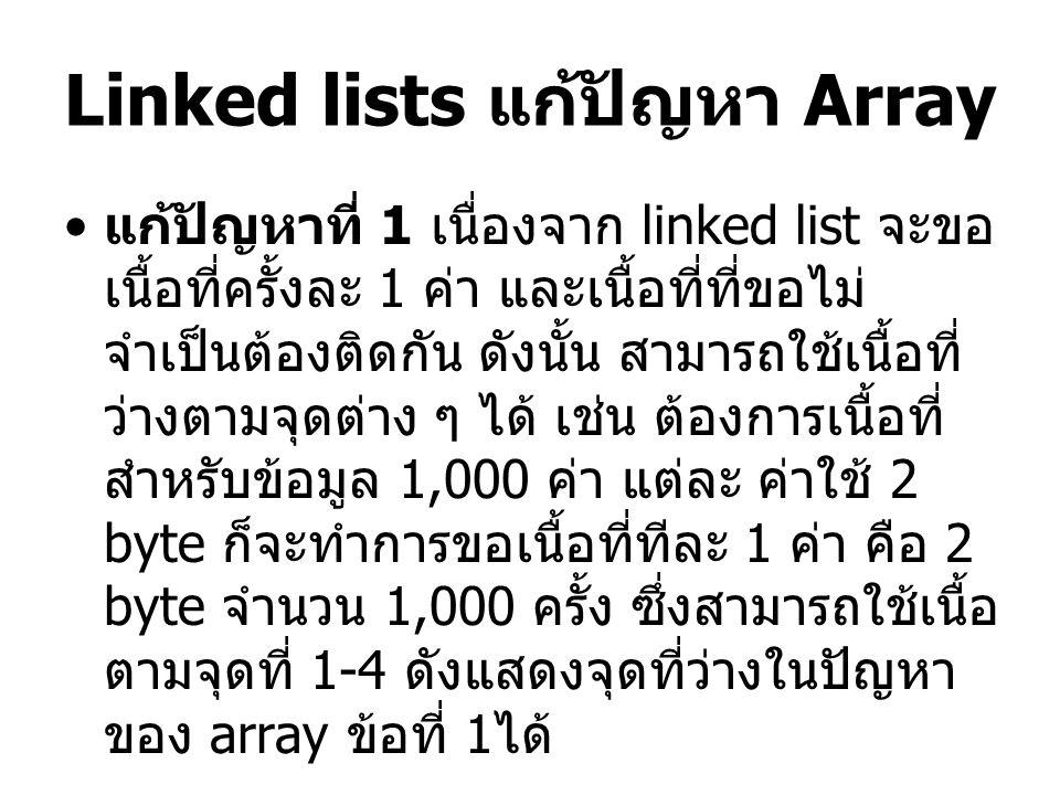 Linked lists แก้ปัญหา Array แก้ปัญหาที่ 1 เนื่องจาก linked list จะขอ เนื้อที่ครั้งละ 1 ค่า และเนื้อที่ที่ขอไม่ จำเป็นต้องติดกัน ดังนั้น สามารถใช้เนื้อที่ ว่างตามจุดต่าง ๆ ได้ เช่น ต้องการเนื้อที่ สำหรับข้อมูล 1,000 ค่า แต่ละ ค่าใช้ 2 byte ก็จะทำการขอเนื้อที่ทีละ 1 ค่า คือ 2 byte จำนวน 1,000 ครั้ง ซึ่งสามารถใช้เนื้อ ตามจุดที่ 1-4 ดังแสดงจุดที่ว่างในปัญหา ของ array ข้อที่ 1 ได้
