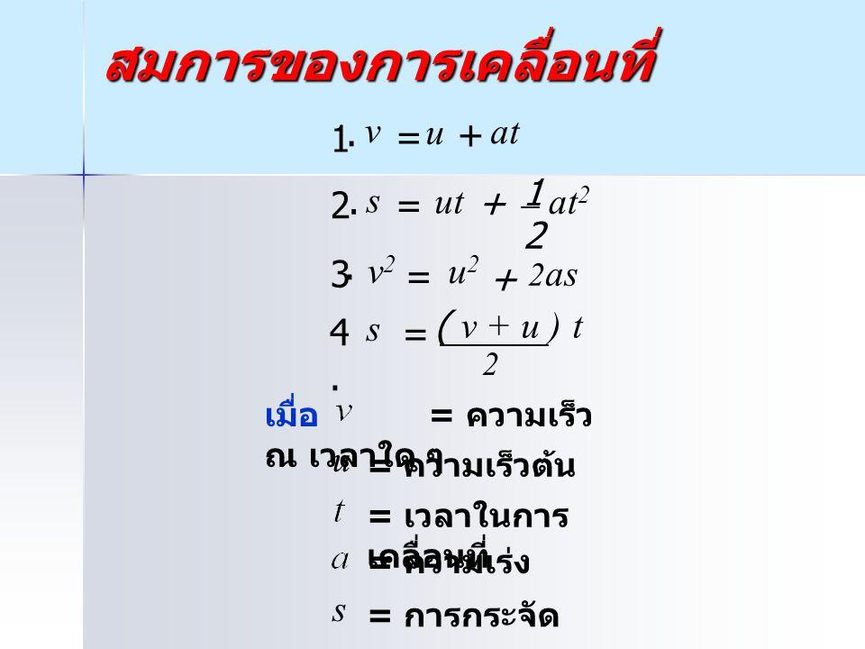 สมการของการเคลื่อนที่ เมื่อ = ความเร็ว ณ เวลาใด ๆ = ความเร็วต้น = เวลาในการ เคลื่อนที่ = ความเร่ง = การกระจัด 1. v = u at + 2. 1 2 at 2 s = ut + 3. 2a