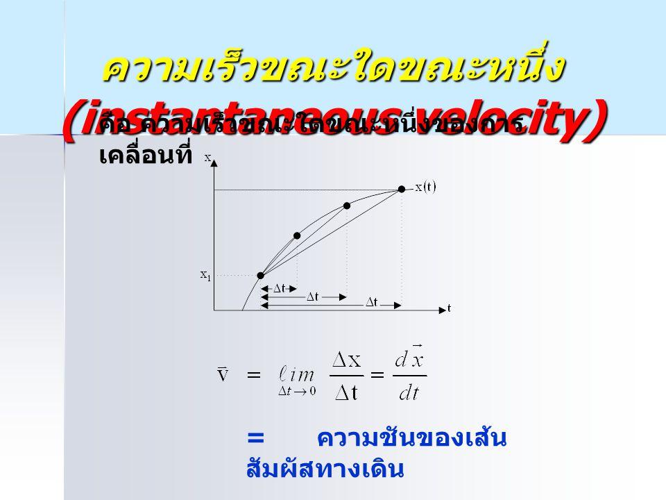 ความเร็วขณะใดขณะหนึ่ง (instantaneous velocity) = ความชันของเส้น สัมผัสทางเดิน คือ ความเร็วขณะใดขณะหนึ่งของการ เคลื่อนที่