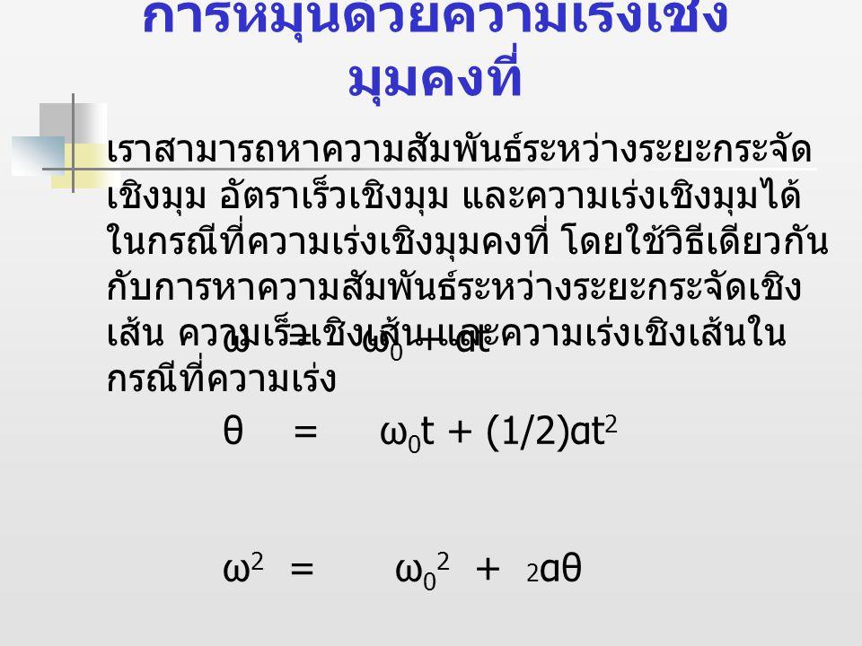 ความสัมพันธระหวางการ เคลื่อนที่เชิงเสนและการ เคลื่อนที่เชิงมุมของอนุภาคที่ เคลื่อนที่เปนวงกลม จุด P หางจากจุดหมุนเปนระยะ r เคลื่อนที่เปนวงกลม โดยมีตําแหนงกระจัดเชิงมุมเริ่มตนเทากับ θ เพิ่มขึ้นเปน Δθ ในชวงเวลา Δt อนุภาคที่จุด P จะเคลื่อนที่เปนสวนโค งของวงกลม Δs = rΔθ