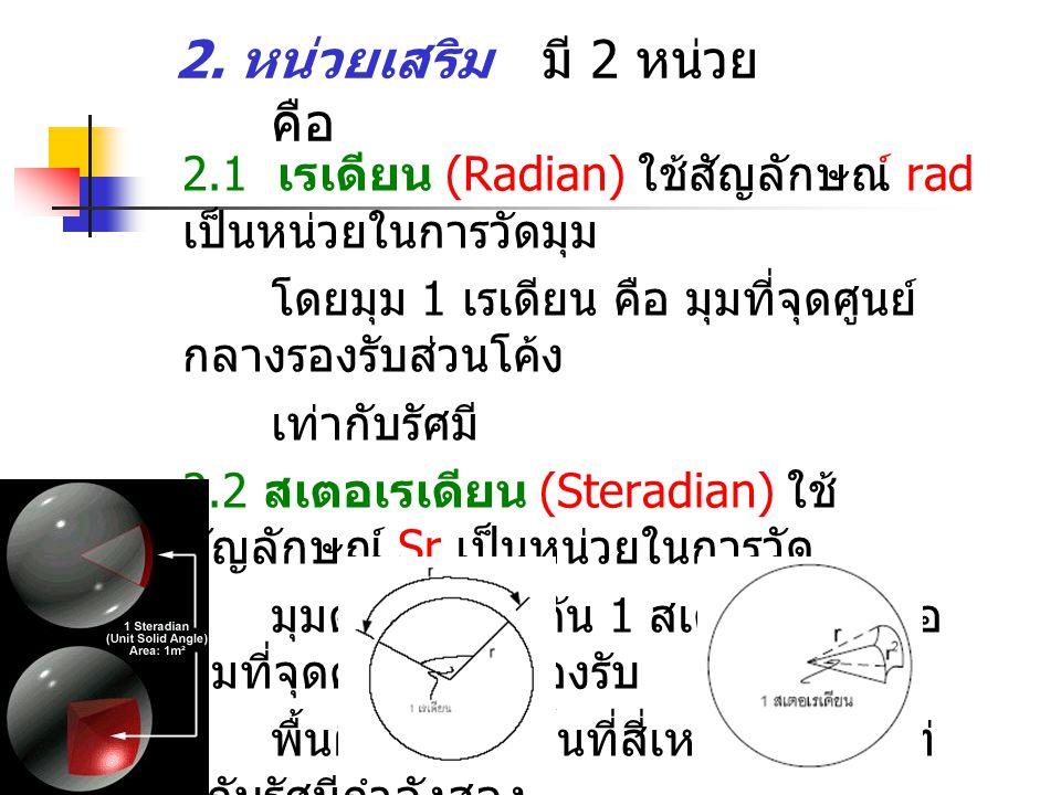 2.1 เรเดียน (Radian) ใชสัญลักษณ rad เปนหนวยในการวัดมุม โดยมุม 1 เรเดียน คือ มุมที่จุดศูนย กลางรองรับสวนโคง เทากับรัศมี 2.2 สเตอเรเดียน (Steradian) ใช สัญลักษณ์ Sr เปนหนวยในการวัด มุมตัน โดยมุมตัน 1 สเตอเรเดียนคือ มุมที่จุดศูนยกลางรองรับ พื้นผิวโคงที่มีพื้นที่สี่เหลี่ยมจัตุรัสเท ากับรัศมีกําลังสอง 2.