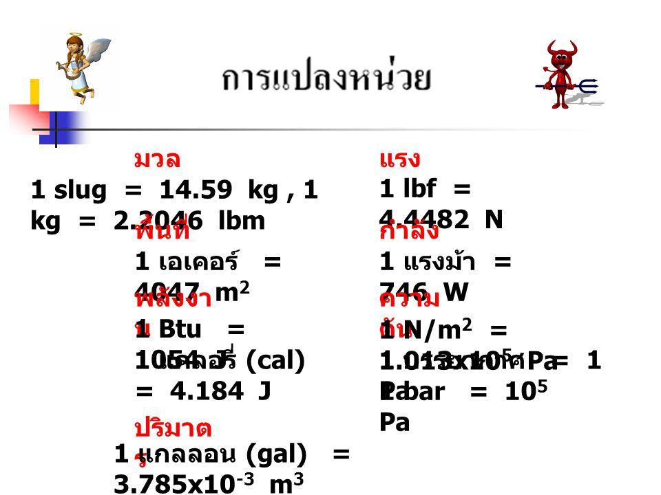 มวล 1 slug = 14.59 kg, 1 kg = 2.2046 lbm แรง 1 lbf = 4.4482 N พื้นที่ 1 เอเคอร์ = 4047 m 2 กำลัง 1 แรงม้า = 746 W พลังงา น 1 Btu = 1054 J 1 แคลอรี่ (cal) = 4.184 J 1 บรรยากาศ = 1 Pa ความ ดัน 1 N/m 2 = 1.013x10 5 Pa 1 bar = 10 5 Pa ปริมาต ร 1 แกลลอน (gal) = 3.785x10 -3 m 3