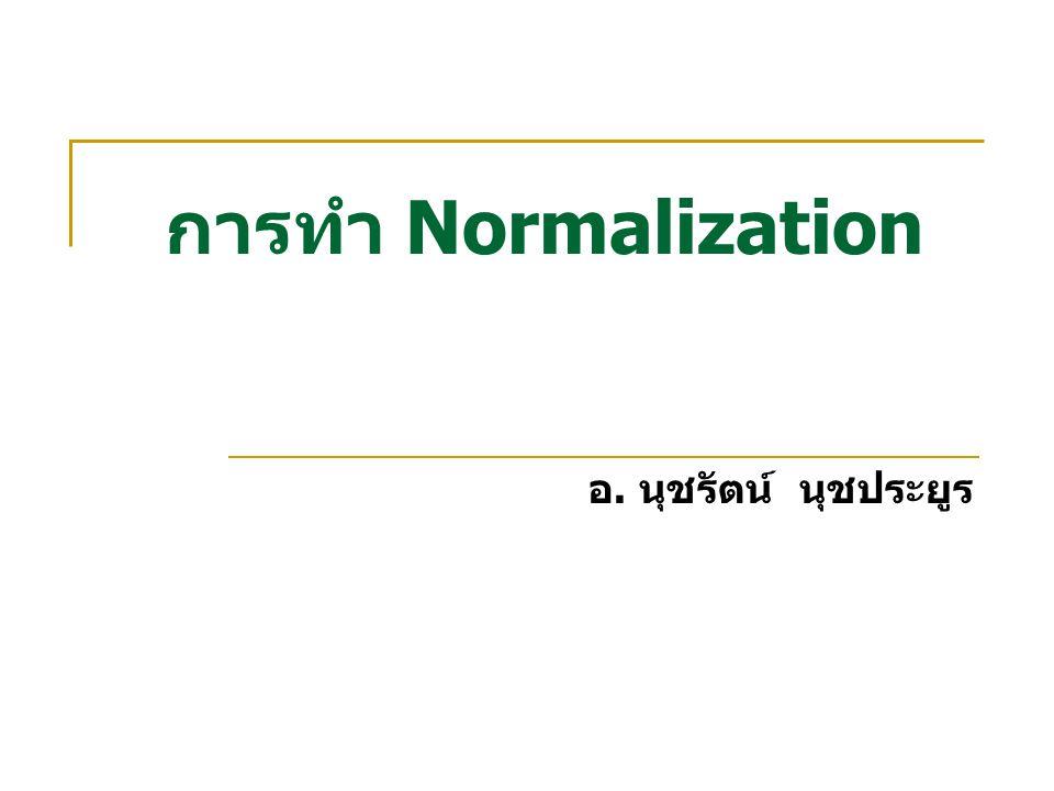 ประโยชน์ของการทำ Normalization เป็นเครื่องมือที่ช่วยในการออกแบบฐานข้อมูลแบบ เชิงสัมพันธ์ ทำให้ทราบว่ารีเลชันที่ออกแบบมานั้น ก่อให้เกิด ปัญหาหรือไม่และด้านใดบ้าง ถ้ารีเลชันที่ออกแบบมานั้นก่อให้เกิดปัญหาจะมี วิธีแก้ไขอย่างไร เมื่อผ่านการแก้ไขแล้ว อาจจะรับประกันได้ว่ารีเลชัน นั้นจะไม่มีปัญหาอีกหรือถ้ามีก็จะมีน้อยลง