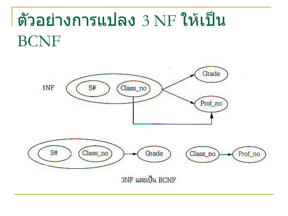 ตัวอย่างการแปลง 3 NF ให้เป็น BCNF