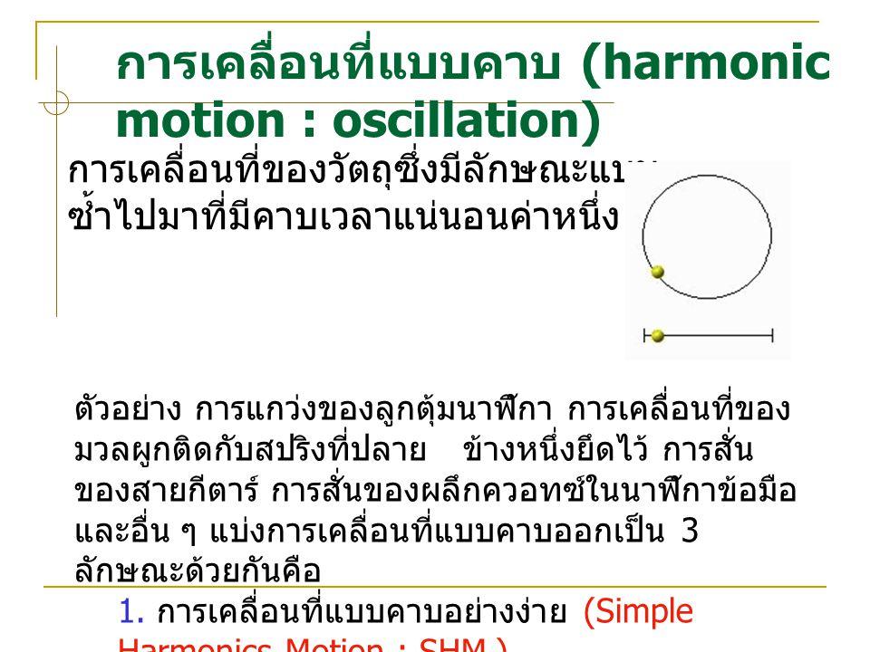 การเคลื่อนที่แบบคาบ (harmonic motion : oscillation) การเคลื่อนที่ของวัตถุซึ่งมีลักษณะแบบ ซ้ำไปมาที่มีคาบเวลาแนนอนคาหนึ่ง ตัวอยาง การแกวงของลูกตุม