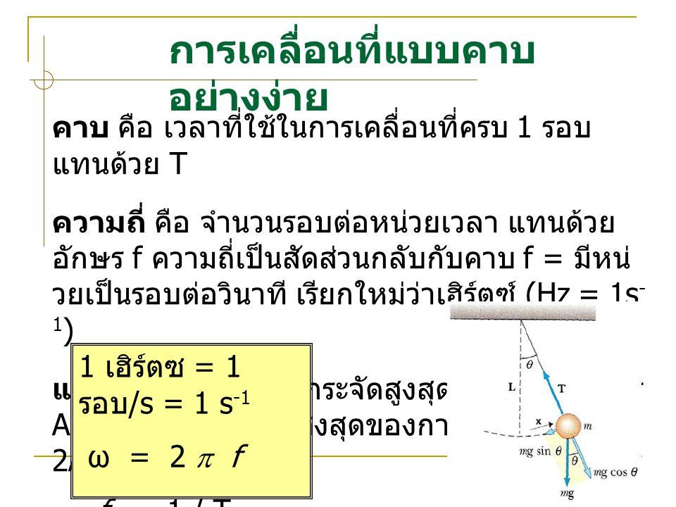 การเคลื่อนที่แบบคาบ อย่างง่าย คาบ คือ เวลาที่ใชในการเคลื่อนที่ครบ 1 รอบ แทนดวย T ความถี่ คือ จํานวนรอบตอหนวยเวลา แทนดวย อักษร f ความถี่เปนสัดสว