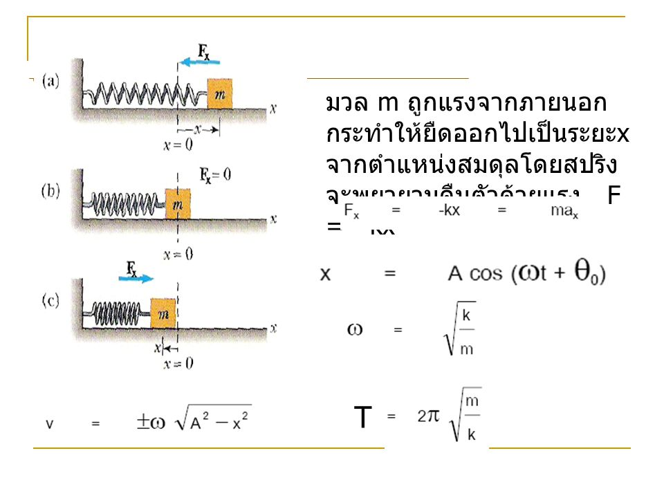 การกระจัด ความเร็ว และ ความเร่งใน SHM วัตถุซึ่งสั่นแบบ SHM ตามแกน x ถ้า t = 0 เฟสเริ่มต้นทำมุม  กับแกน + x ที่เวลา t ใดๆ มุมนี้จะมีค่า  = ωt +  เราจะได้การกระจัด ใน SHM x = A cos(ωt +  ) ความเร็ว ใน SHM v = -ω A sin (ωt +  ) ความเร่ง ใน SHM a = -ω 2 A cos (ωt +  )