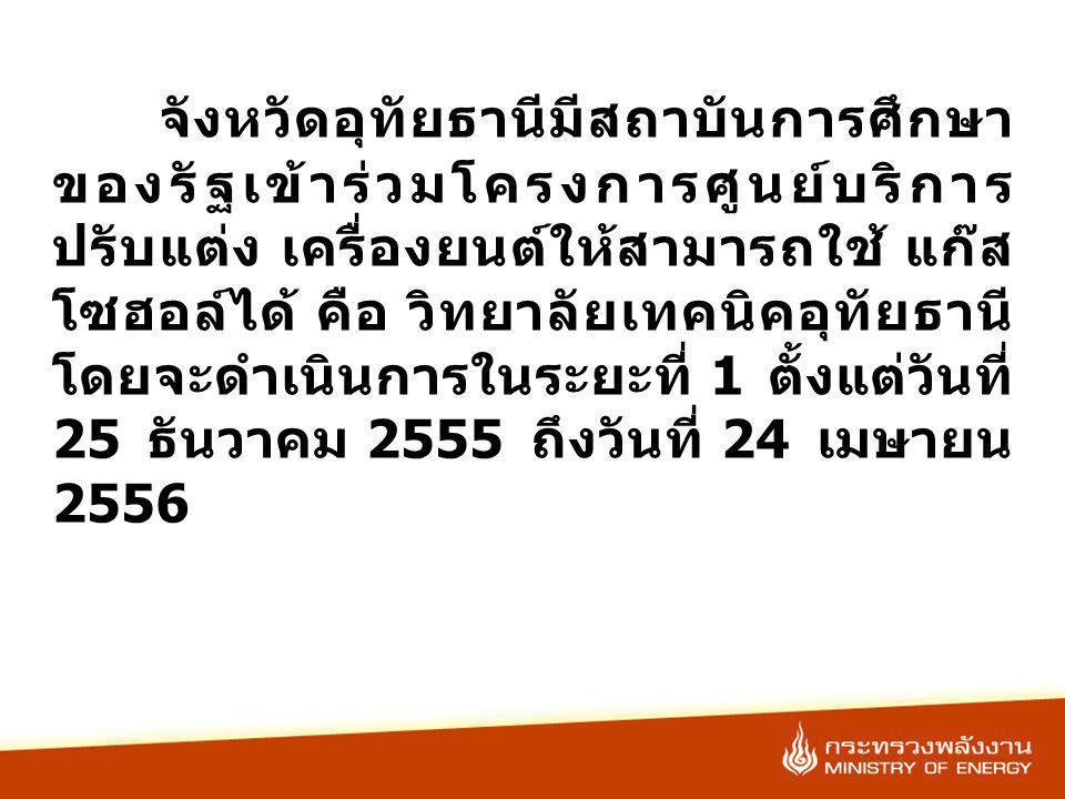 จังหวัดอุทัยธานีมีสถาบันการศึกษา ของรัฐเข้าร่วมโครงการศูนย์บริการ ปรับแต่ง เครื่องยนต์ให้สามารถใช้ แก๊ส โซฮอล์ได้ คือ วิทยาลัยเทคนิคอุทัยธานี โดยจะดำเนินการในระยะที่ 1 ตั้งแต่วันที่ 25 ธันวาคม 2555 ถึงวันที่ 24 เมษายน 2556