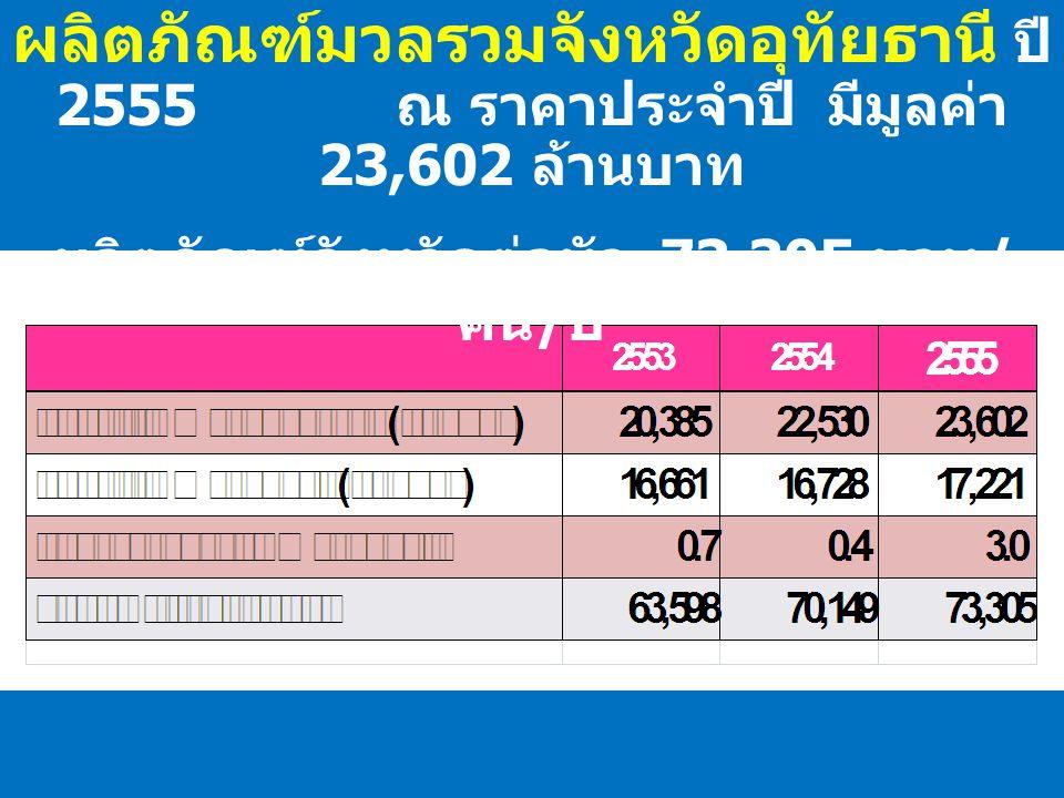 ผลิตภัณฑ์มวลรวมจังหวัดอุทัยธานี ปี 2555 ณ ราคาประจำปี มีมูลค่า 23,602 ล้านบาท ผลิตภัณฑ์จังหวัดต่อหัว 73,305 บาท / คน / ปี