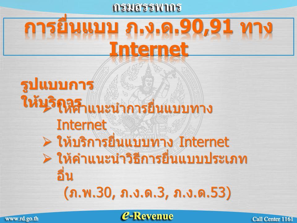 รูปแบบการ ให้บริการ  ให้คำแนะนำการยื่นแบบทาง Internet  ให้บริการยื่นแบบทาง Internet  ให้คำแนะนำวิธีการยื่นแบบประเภท อื่น ( ภ.