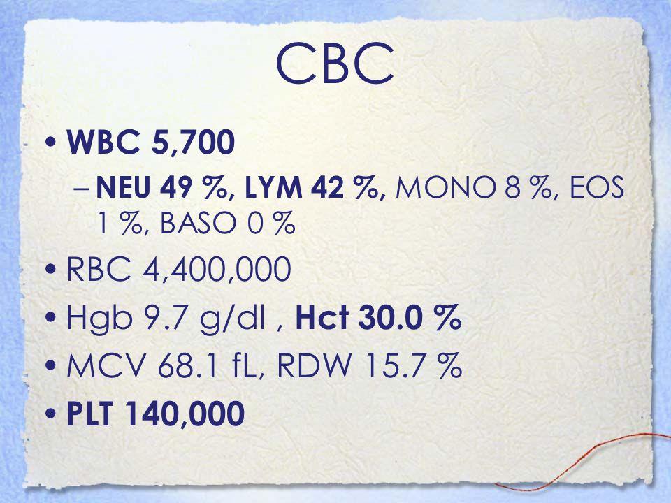 CBC WBC 5,700 – NEU 49 %, LYM 42 %, MONO 8 %, EOS 1 %, BASO 0 % RBC 4,400,000 Hgb 9.7 g/dl, Hct 30.0 % MCV 68.1 fL, RDW 15.7 % PLT 140,000