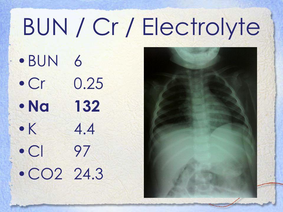BUN / Cr / Electrolyte BUN6 Cr0.25 Na132 K4.4 Cl97 CO224.3