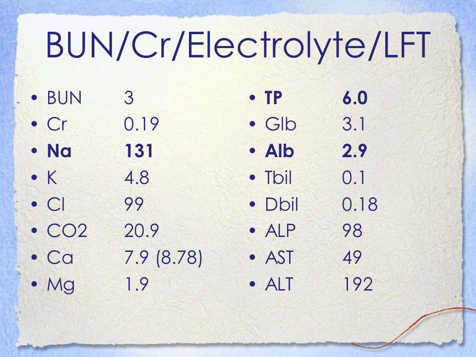BUN/Cr/Electrolyte/LFT BUN3 Cr0.19 Na131 K4.8 Cl99 CO220.9 Ca7.9 (8.78) Mg1.9 TP6.0 Glb3.1 Alb2.9 Tbil0.1 Dbil0.18 ALP98 AST49 ALT192