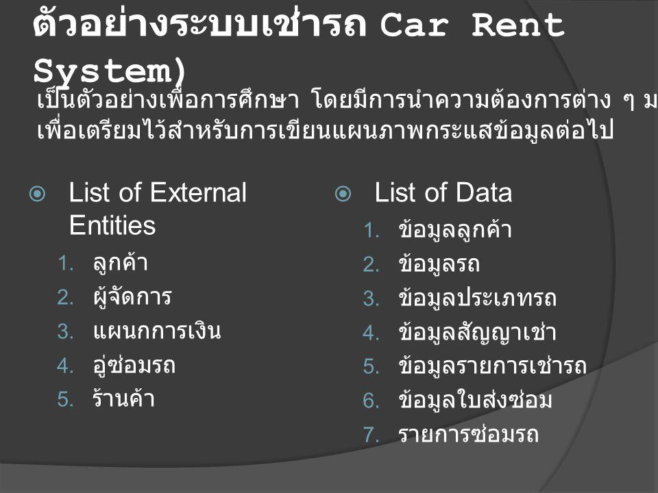 ตัวอย่างระบบเช่ารถ Car Rent System)  List of External Entities 1. ลูกค้า 2. ผู้จัดการ 3. แผนกการเงิน 4. อู่ซ่อมรถ 5. ร้านค้า  List of Data 1. ข้อมูล
