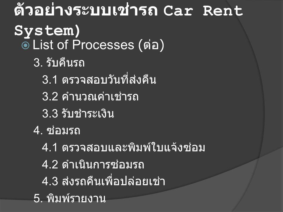  List of Processes ( ต่อ ) 3. รับคืนรถ 3.1 ตรวจสอบวันที่ส่งคืน 3.2 คำนวณค่าเช่ารถ 3.3 รับชำระเงิน 4. ซ่อมรถ 4.1 ตรวจสอบและพิมพ์ใบแจ้งซ่อม 4.2 ดำเนินก