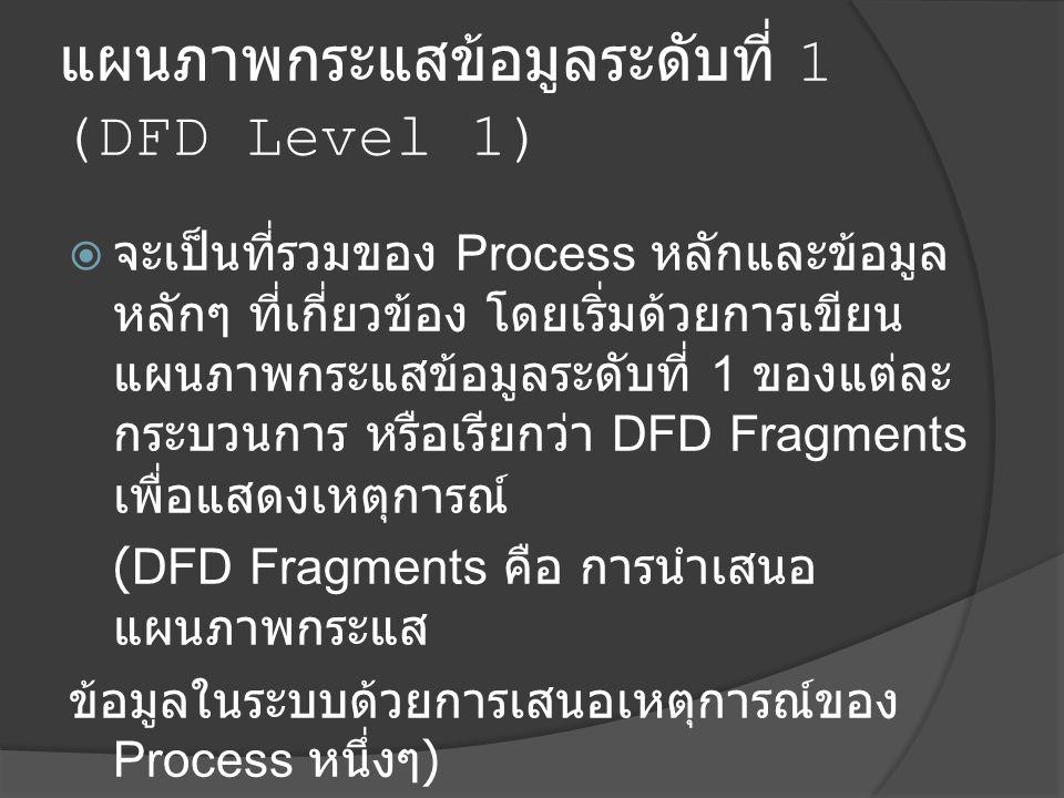แผนภาพกระแสข้อมูลระดับที่ 1 (DFD Level 1)  จะเป็นที่รวมของ Process หลักและข้อมูล หลักๆ ที่เกี่ยวข้อง โดยเริ่มด้วยการเขียน แผนภาพกระแสข้อมูลระดับที่ 1 ของแต่ละ กระบวนการ หรือเรียกว่า DFD Fragments เพื่อแสดงเหตุการณ์ (DFD Fragments คือ การนำเสนอ แผนภาพกระแส ข้อมูลในระบบด้วยการเสนอเหตุการณ์ของ Process หนึ่งๆ )