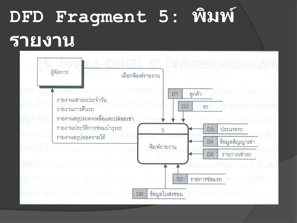DFD Fragment 5: พิมพ์ รายงาน