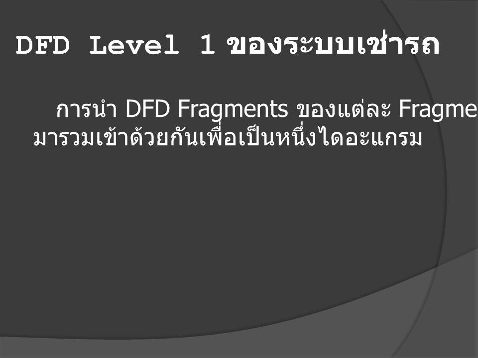 DFD Level 1 ของระบบเช่ารถ การนำ DFD Fragments ของแต่ละ Fragments มารวมเข้าด้วยกันเพื่อเป็นหนึ่งไดอะแกรม
