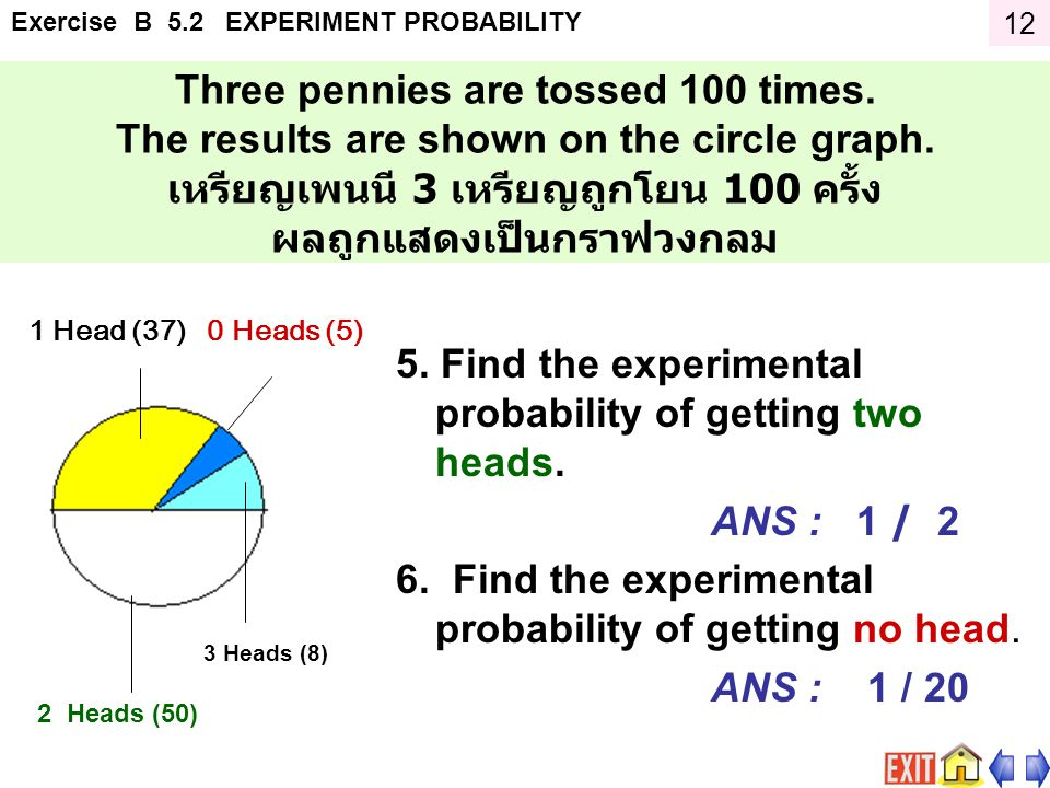Exercise B 5.2 EXPERIMENT PROBABILITY Three pennies are tossed 100 times.