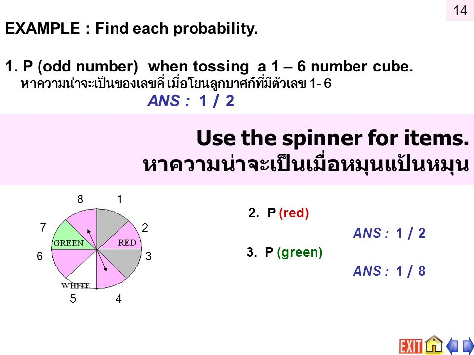 Use the spinner for items. หาความน่าจะเป็นเมื่อหมุนแป้นหมุน 2. P (red) ANS : 1 / 2 3. P (green) ANS : 1 / 8 8 1 7 2 6 3 5 4 EXAMPLE : Find each probab