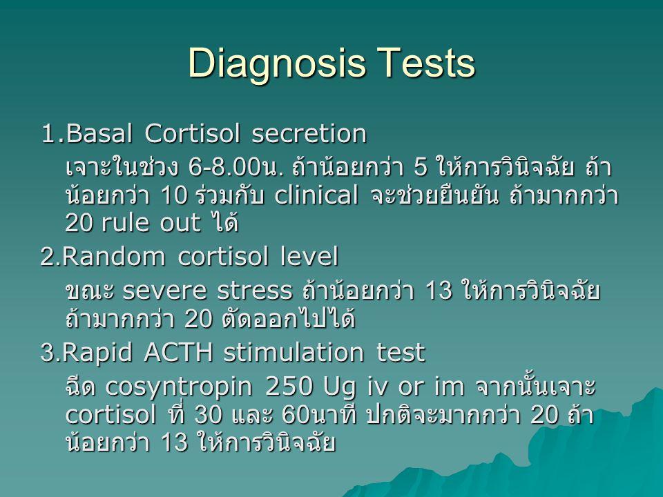 Diagnosis Tests 1.Basal Cortisol secretion เจาะในช่วง 6-8.00 น. ถ้าน้อยกว่า 5 ให้การวินิจฉัย ถ้า น้อยกว่า 10 ร่วมกับ clinical จะช่วยยืนยัน ถ้ามากกว่า