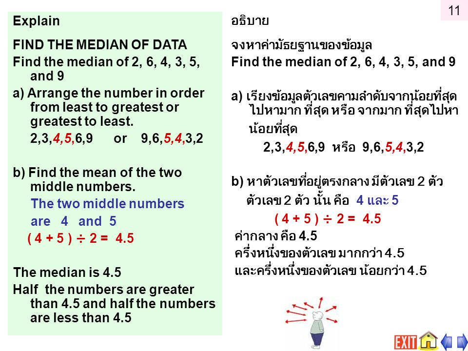 Explain FIND THE MEDIAN OF DATA Find the median of 2, 6, 4, 3, 5, and 9 a) Arrange the number in order from least to greatest or greatest to least.