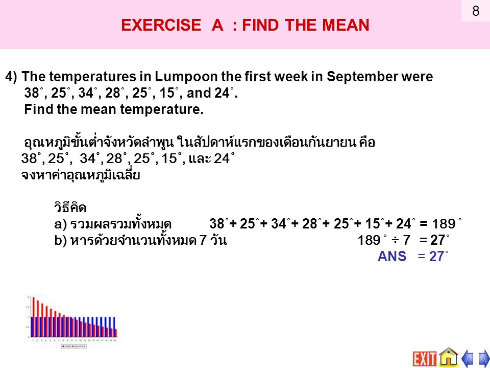 4) The temperatures in Lumpoon the first week in September were 38˚, 25˚, 34˚, 28˚, 25˚, 15˚, and 24˚.