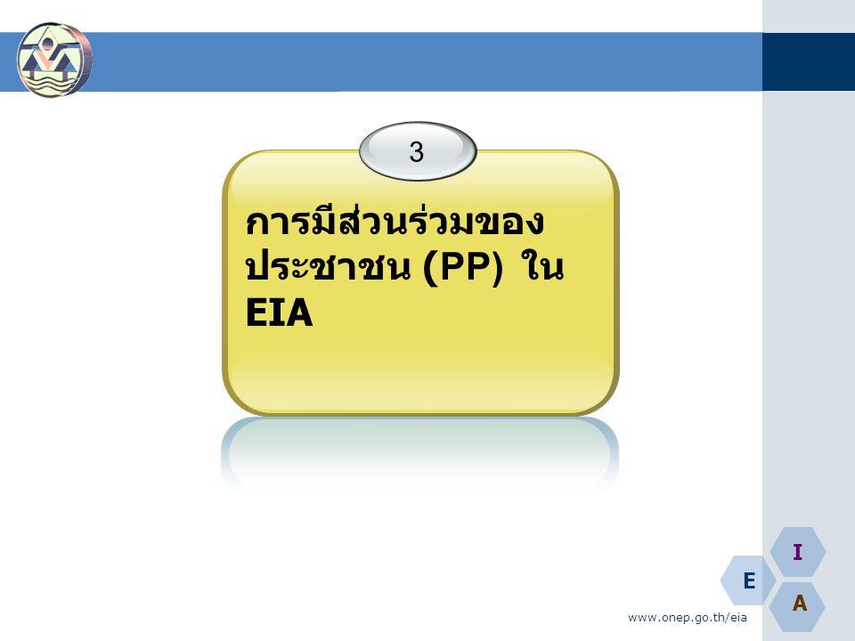 E A I www.onep.go.th/eia 3 การมีส่วนร่วมของ ประชาชน (PP) ใน EIA
