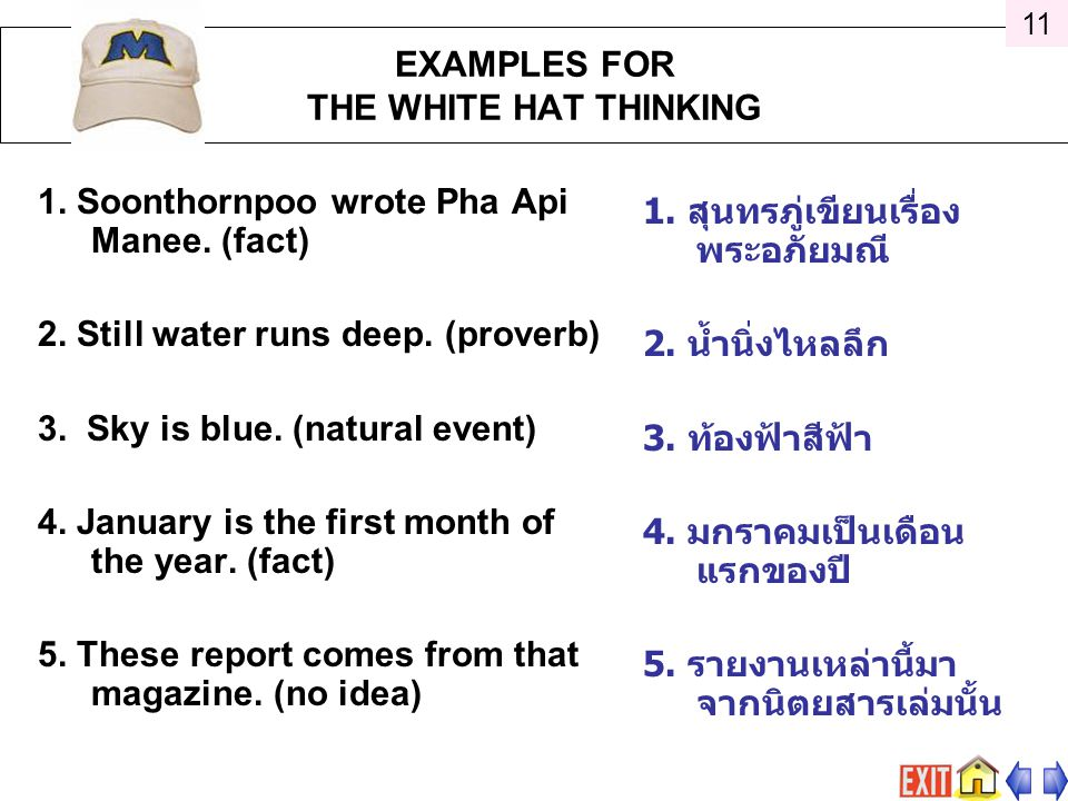 1.Soonthornpoo wrote Pha Api Manee. (fact) 2. Still water runs deep.