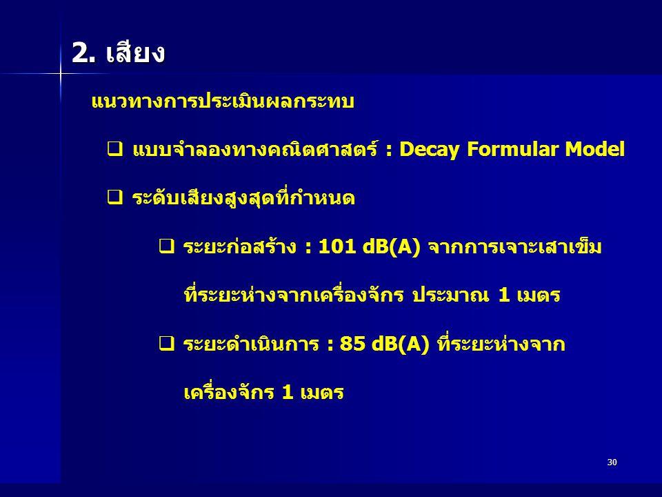 30 2. เสียง แนวทางการประเมินผลกระทบ  แบบจำลองทางคณิตศาสตร์ : Decay Formular Model  ระดับเสียงสูงสุดที่กำหนด  ระยะก่อสร้าง : 101 dB(A) จากการเจาะเสา