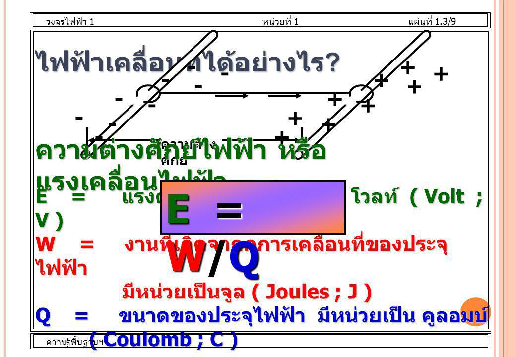 ไฟฟ้าเคลื่อนที่ได้อย่างไร ? - - - - - - - - + + + + + + + + +- ความต่าง ศักย์ ความต่างศักย์ไฟฟ้า หรือ แรงเคลื่อนไฟฟ้า E = แรงดันไฟฟ้า มีหน่วยเป็น โวลท