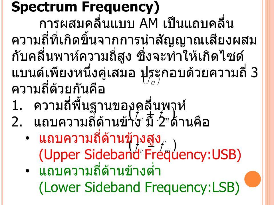 สเปกตรัมความถี่ของคลื่นเอเอ็ม (AM Spectrum Frequency) การผสมคลื่นแบบ AM เป็นแถบคลื่น ความถี่ที่เกิดขึ้นจากการนำสัญญาณเสียงผสม กับคลื่นพาห์ความถี่สูง ซ