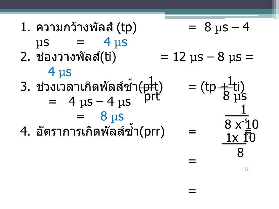 1. ความกว้างพัลส์ (tp)= 8 μ s – 4 μ s = 4 μ s 2. ช่องว่างพัลส์ (ti)= 12 μ s – 8 μ s = 4 μ s 3. ช่วงเวลาเกิดพัลส์ซ้ำ (prt) = (tp + ti) = 4 μ s – 4 μ s