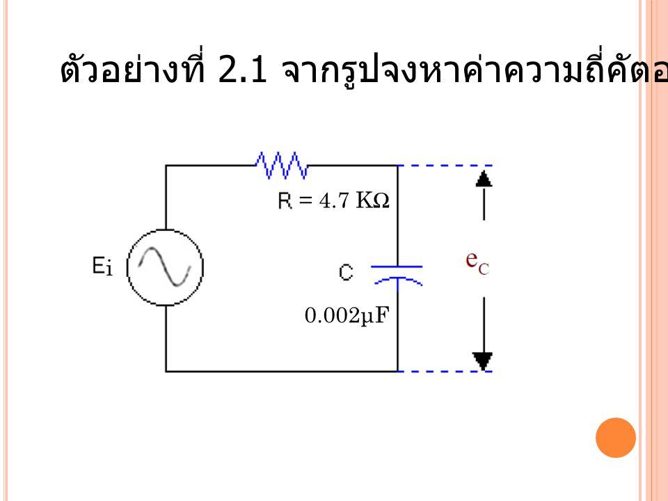 ตัวอย่างที่ 2.1 จากรูปจงหาค่าความถี่คัตออฟของวงจร = 4.7 KΩ 0.002μF i