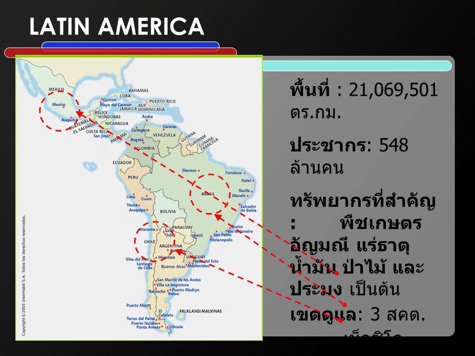 LATIN AMERICA พื้นที่ : 21,069,501 ตร.กม.