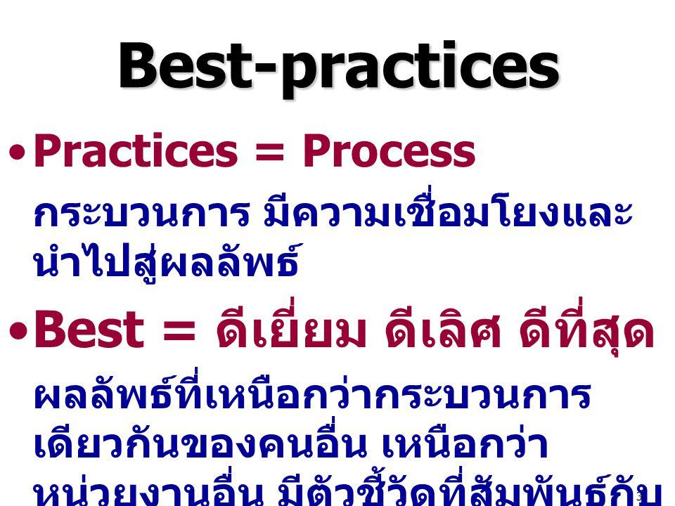 3 Best-practices Practices = Process กระบวนการ มีความเชื่อมโยงและ นำไปสู่ผลลัพธ์ Best = ดีเยี่ยม ดีเลิศ ดีที่สุด ผลลัพธ์ที่เหนือกว่ากระบวนการ เดียวกัน