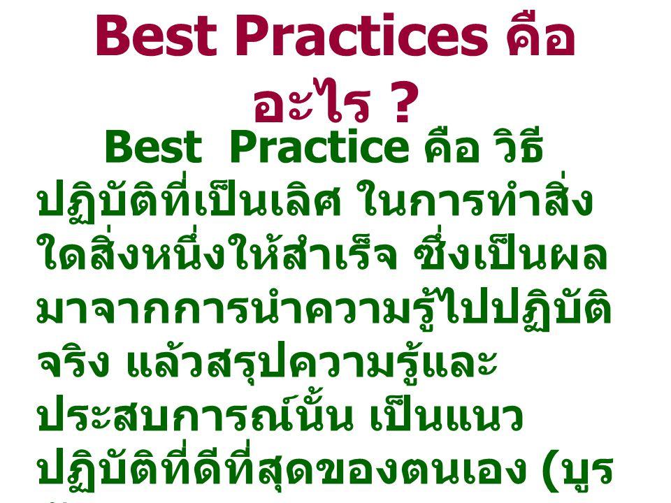หมายถึง แนวทาง หรือ วิธีการปฏิบัติ ในเรื่อง ต่างๆ ที่นำองค์กรไปสู่ความสำเร็จและบรรลุ จุดมุ่งหมายได้อย่างมีประสิทธิภาพและ ประสิทธิผล Best Practices คือ อะไร ?