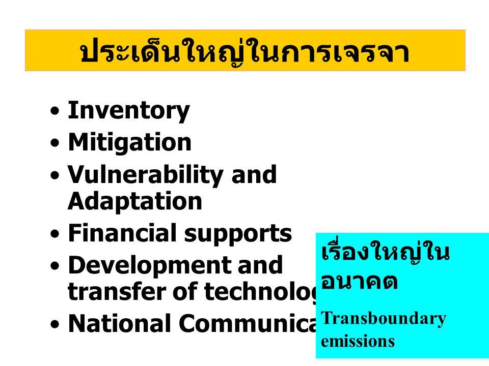 ประเด็นใหญ่ในการเจรจา Inventory Mitigation Vulnerability and Adaptation Financial supports Development and transfer of technology National Communication เรื่องใหญ่ใน อนาคต Transboundary emissions Delayed emissions