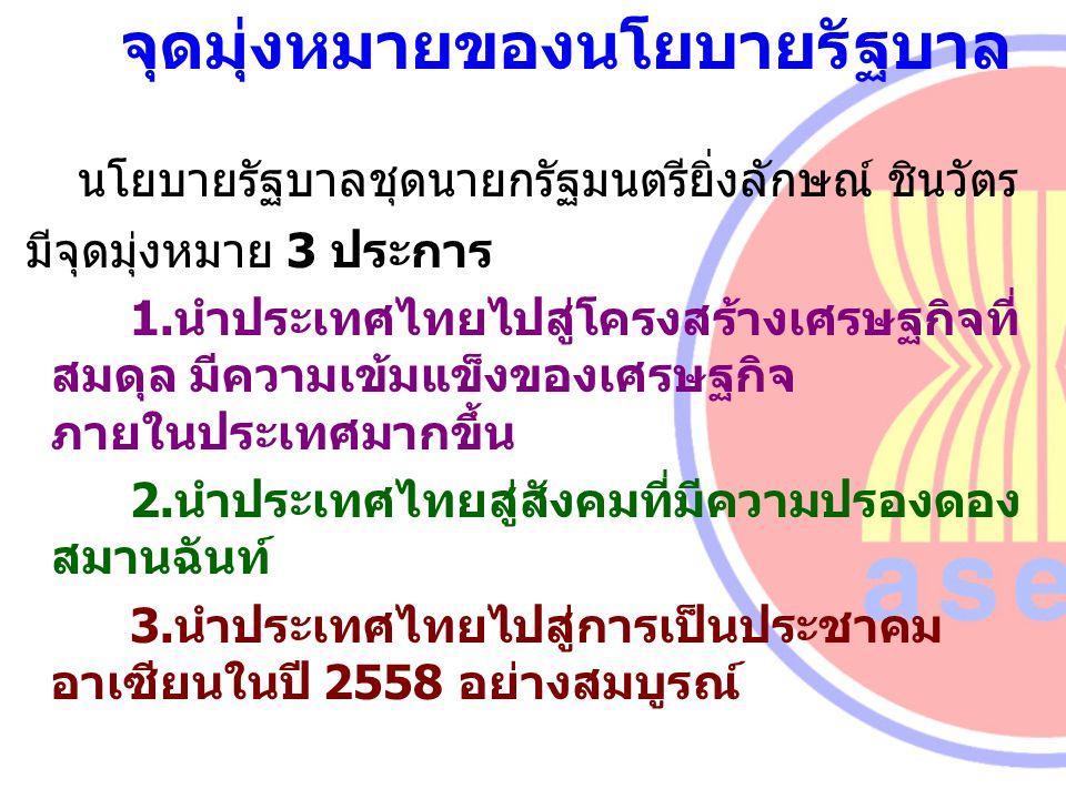 จุดมุ่งหมายของนโยบายรัฐบาล นโยบายรัฐบาลชุดนายกรัฐมนตรียิ่งลักษณ์ ชินวัตร มีจุดมุ่งหมาย 3 ประการ 1.นำประเทศไทยไปสู่โครงสร้างเศรษฐกิจที่ สมดุล มีความเข้