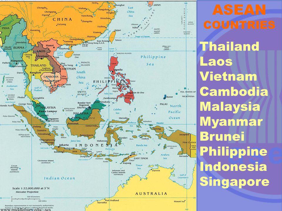 ASEAN COUNTRIES Thailand Laos Vietnam Cambodia Malaysia Myanmar Brunei Philippine Indonesia Singapore
