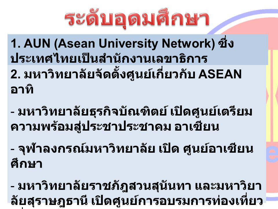 1. AUN (Asean University Network) ซึ่ง ประเทศไทยเป็นสำนักงานเลขาธิการ 2. มหาวิทยาลัยจัดตั้งศูนย์เกี่ยวกับ ASEAN อาทิ - มหาวิทยาลัยธุรกิจบัณฑิตย์ เปิดศ